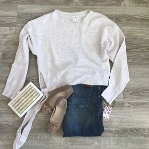 Soft knit gray & pink sweater